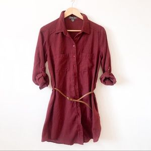 Primark Maroon Button Up Belted Flannel Tunic